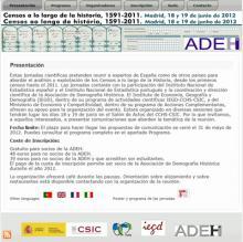 """Jornadas Científicas """"Censos a lo largo de la Historia, 1591 - 2011"""""""