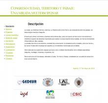 """Congreso """"Ciudad, territorio y paisaje: una mirada multidisciplinar"""""""
